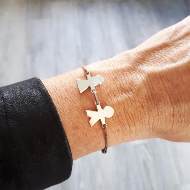 Bracelet cordon personnalisé - 1 à 5 chérubins gravés en argent