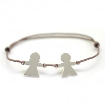 Bracelet cordon personnalisé 1 à 5 chérubins - Argent