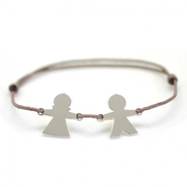 Bracelet cordon personnalisé - 1 à 5 chérubins en argent gravés