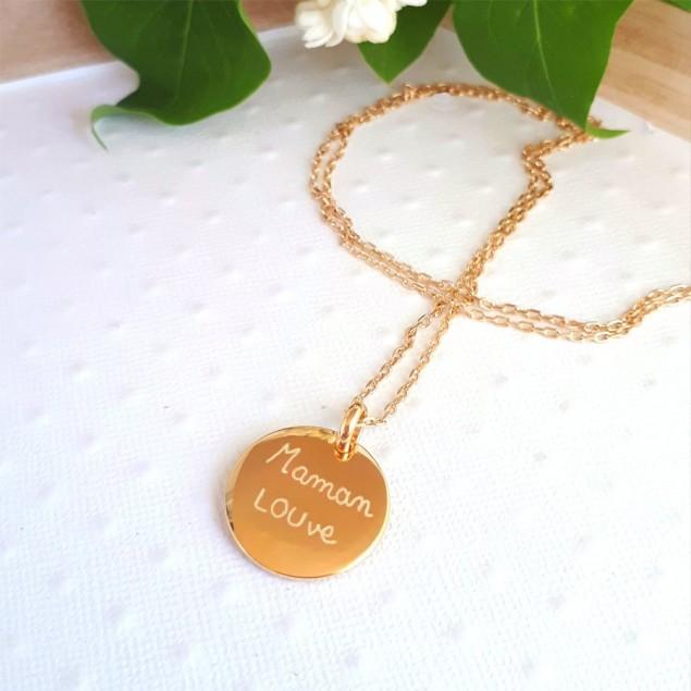 Collier personnalisé en plaqué or  - Médaille ronde bombée gravée