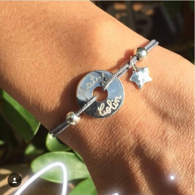 Bracelet cordon personnalisé - mini cible + perles + mini-breloque au choix