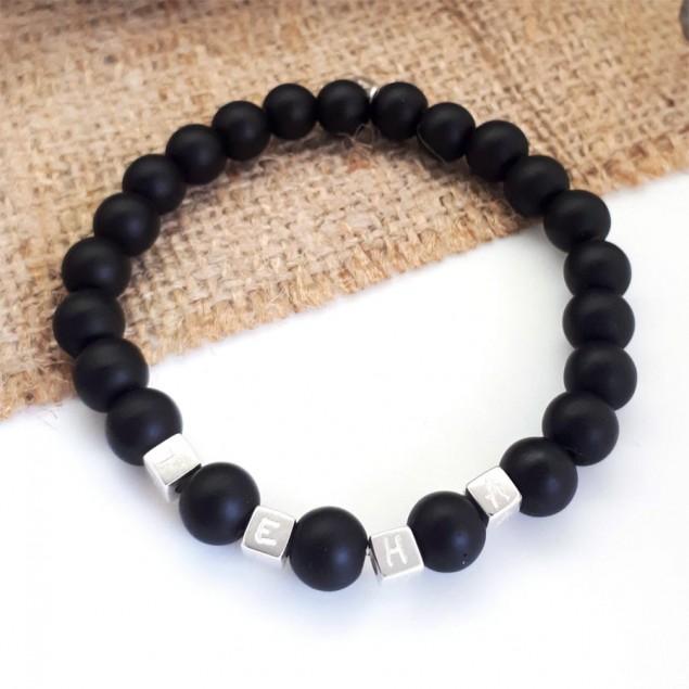 Bracelet perles noires pour homme - 4 cubes à personnaliser