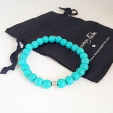 Bracelet perle Howlite turquoise homme personnalisé - 1 à 4 cubes gravés
