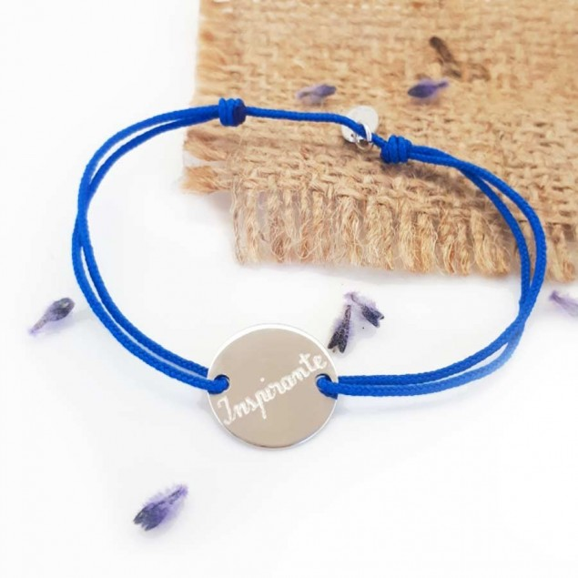 Bracelet cordon personnalisé - mini jeton gravé