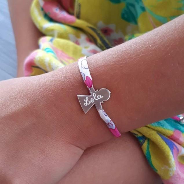 Bracelet Liberty personnalisé - 1 personnage en argent