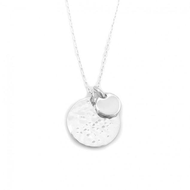 Collier personnalisé en argent - Médaille ronde martelée et mini rond lisse