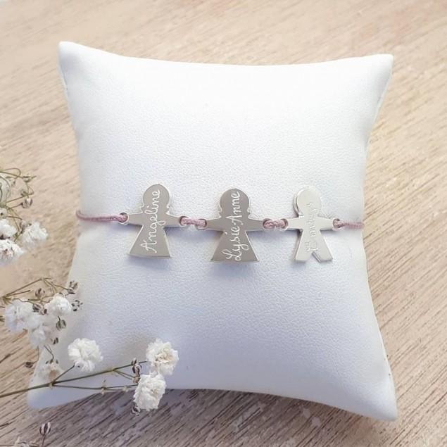 Bracelet cordon personnalisé - 3 chérubins en argent gravés