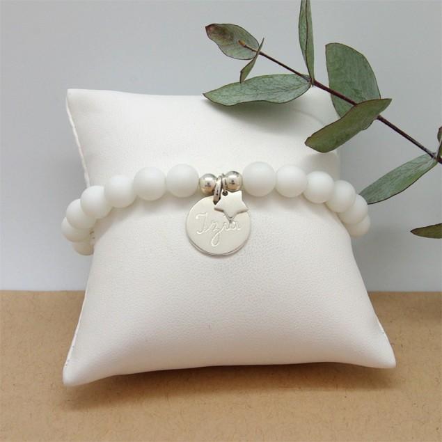 Bracelet personnalisé femme en perles - 1 médaille ronde  et 1 étoile en argent