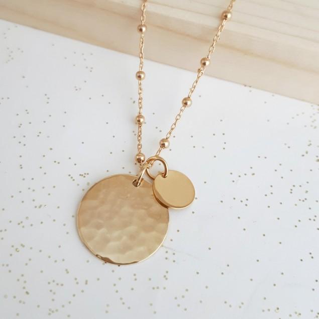Collier boule personnalisé en plaqué or - Médaille ronde martelée et mini rond lisse