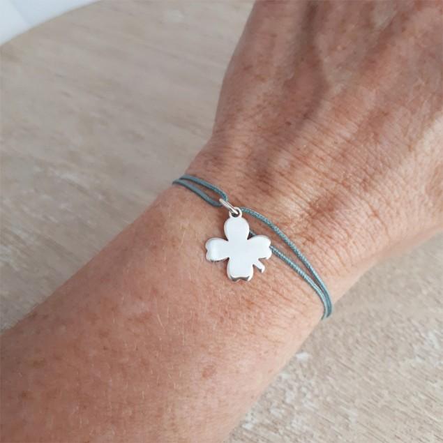 Bracelet cordon personnalisé - trèfle en argent