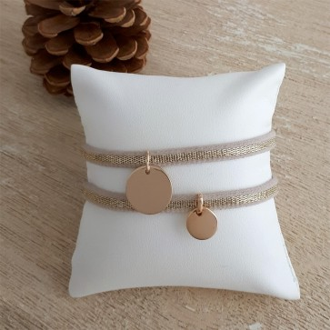 Bracelet élastique petite médaille gravée - Plaqué Or
