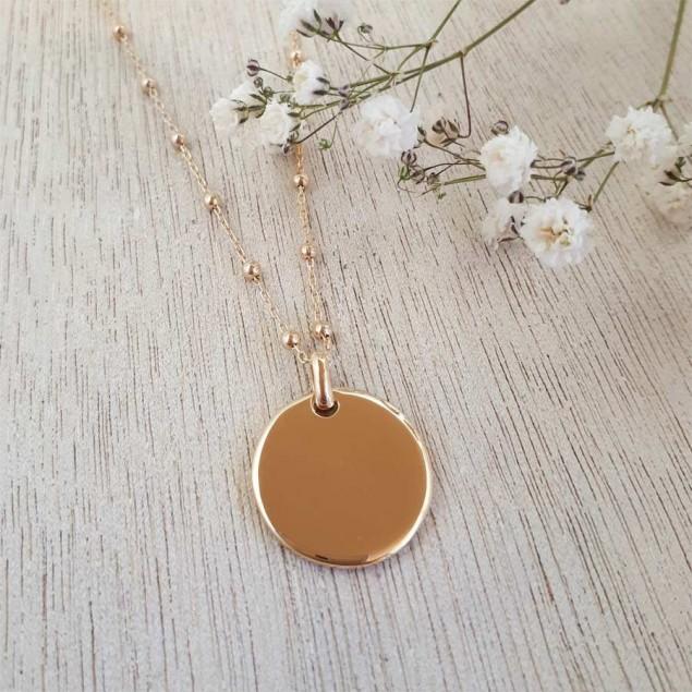 Collier personnalisé en plaqué or  - Médaille ronde bombée gravée sur chaîne boule