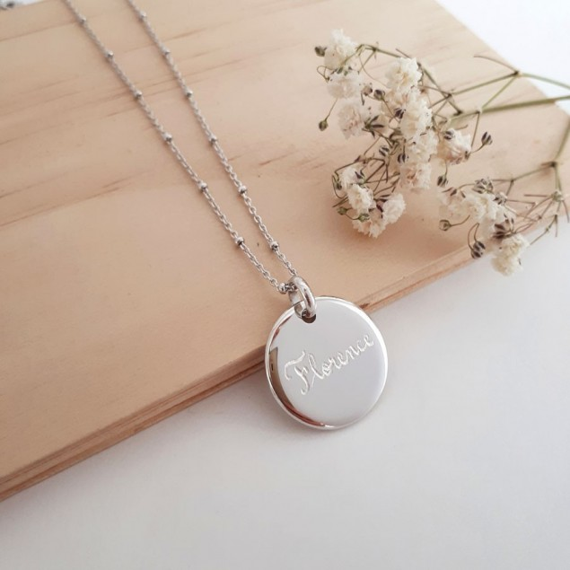 Collier chaîne boule personnalisé en argent  - Médaille ronde bombée gravée