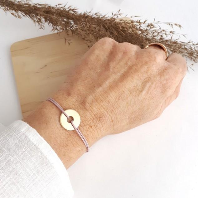 Bracelet cordon personnalisé - Mini-cible 15mm en plaqué or