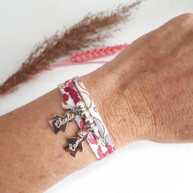 Bracelet Liberty personnalisé - 1 à 5 personnages et perles en argent