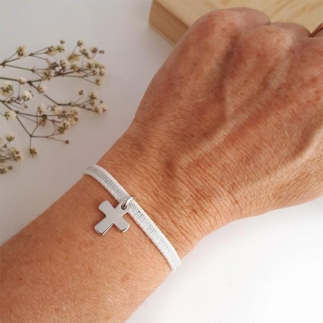 Bracelet élastique personnalisé - Croix en argent gravable