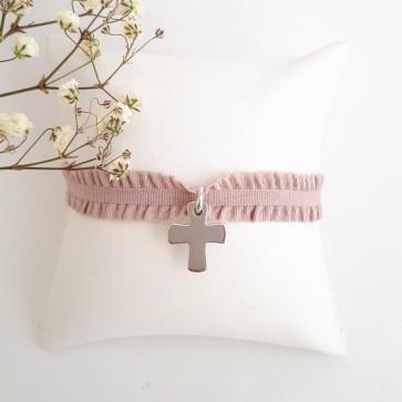 Bracelet ruban personnalisé croix gravée - Argent ou plaqué or