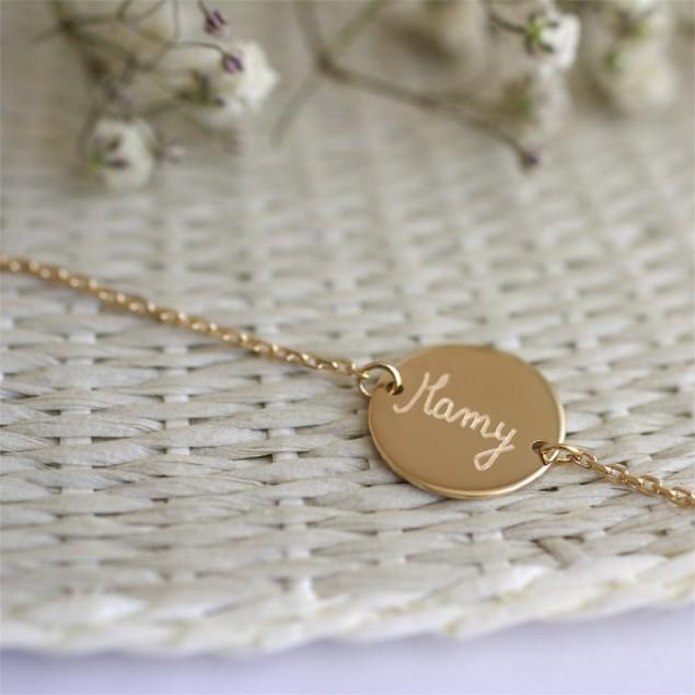 Bracelet chaîne personnalisé Jeton - Plaqué or