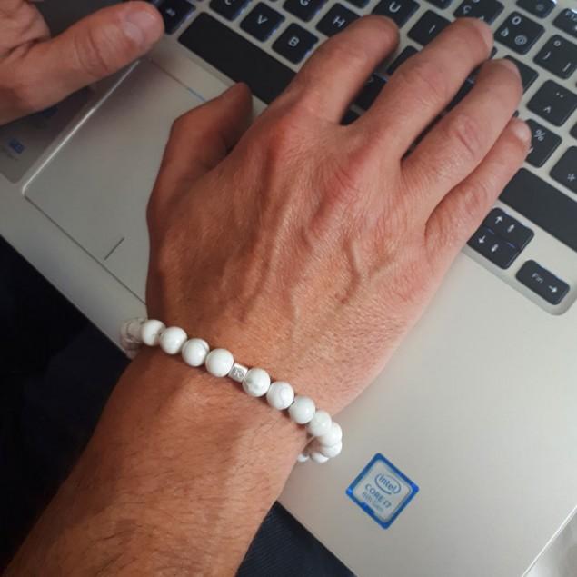 Bracelet perles Howlite pour homme - 1 cube à personnaliser
