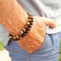 DUO - bracelets en perles pour homme - Bois d'ébène & Oeil de tigre