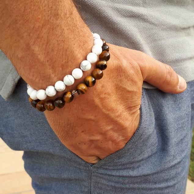 DUO - bracelets en perles pour homme - Howlite blanche & Oeil de tigre