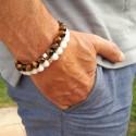 DUO - bracelets en perles pour homme - Agate blanche & Oeil de tigre