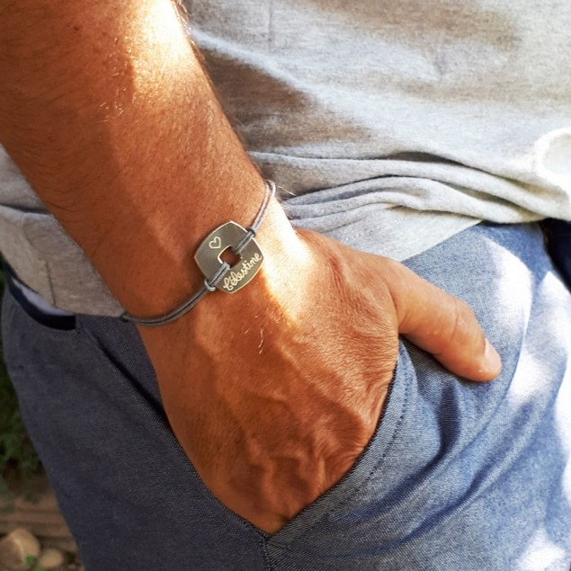 Bracelet cordon personnalisé homme - Jeton carré 20mm en argent