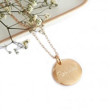 Collier médaille gravée - Plaqué or
