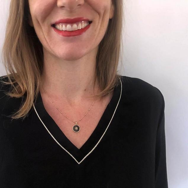 Collier personnalisé en plaqué or émaillé noir - Gravure au verso