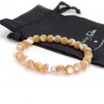 Bracelet perle homme Nacre  personnalisé