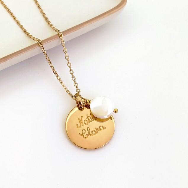 Collier personnalisé plaqué or - Médaille bombée & nacre