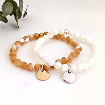 Bracelet perle nacre personnalisé - mini argent ou plaqué or initiales