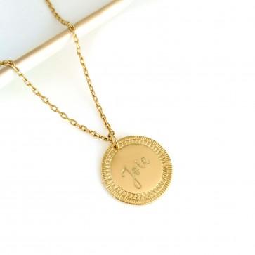 Collier personnalisé médaille ethnique gravée - Plaqué or