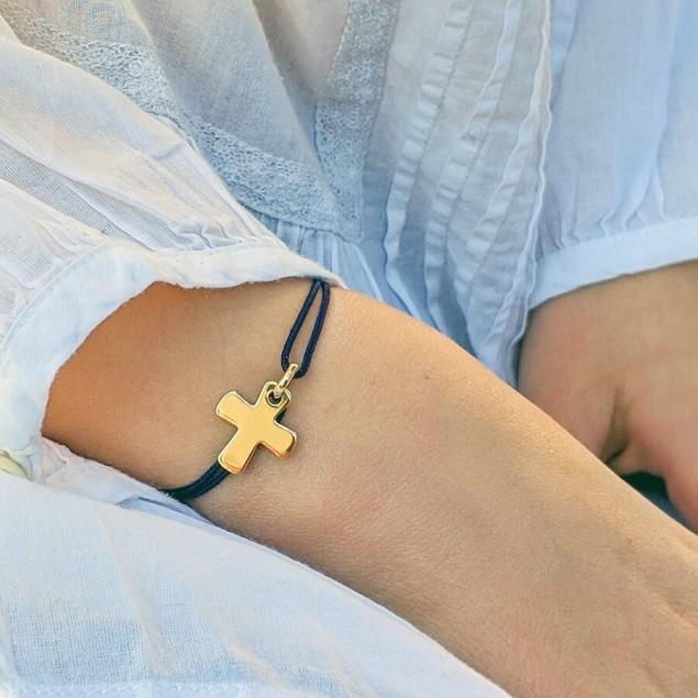 Bracelet croix livré dans un pochon Mon espiègle tribu