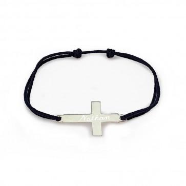 Bracelet personnalisé croix - Argent