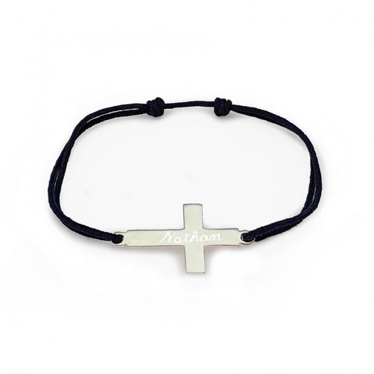 Bracelet personnalisé - Croix en argent