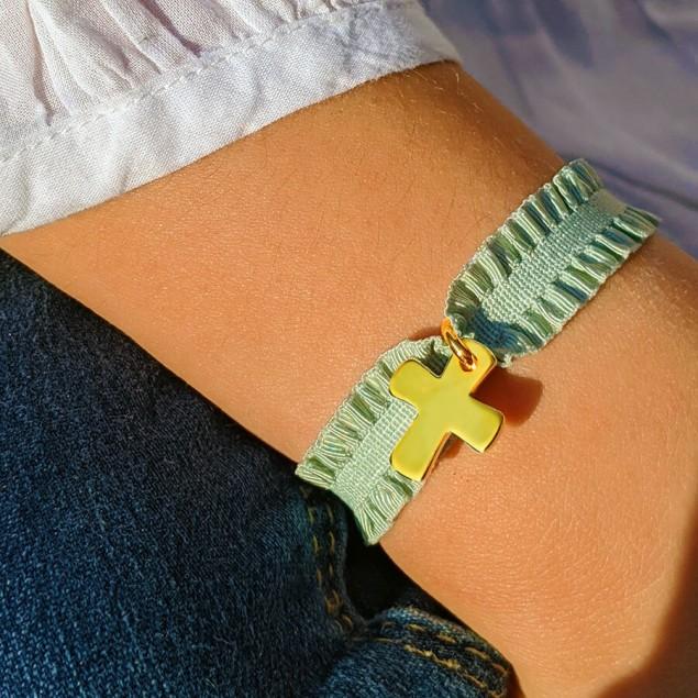 Bracelet ruban personnalisé - Croix gravée en plaqué or