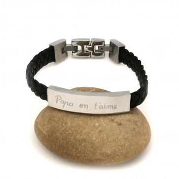 Bracelet cuir tressé personnalisé Homme - Plaque acier