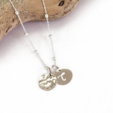 Collier personnalisé DUO mini médaille gravure initiale - Plaqué or ou argent