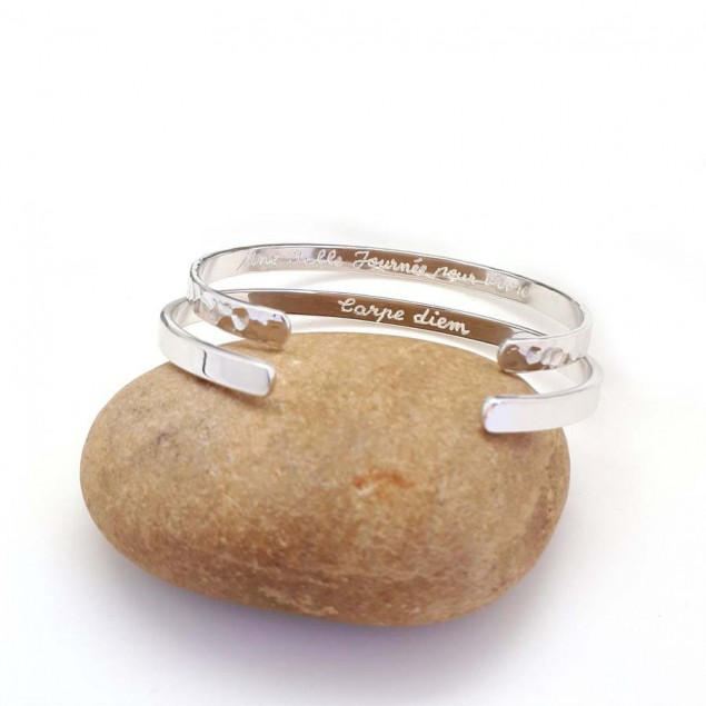 DUO de bracelet jonc avec inscription - Argent ou plaqué or