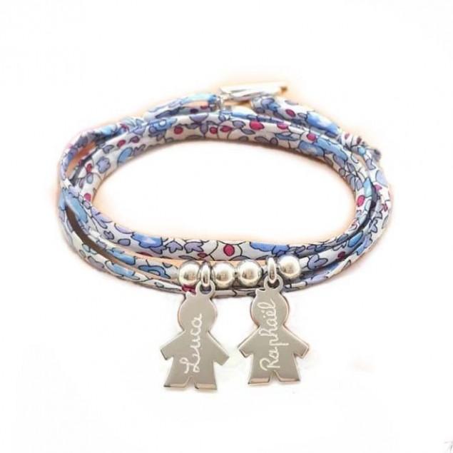 Bracelet Liberty personnalisé - 1 à 5 personnages en argent