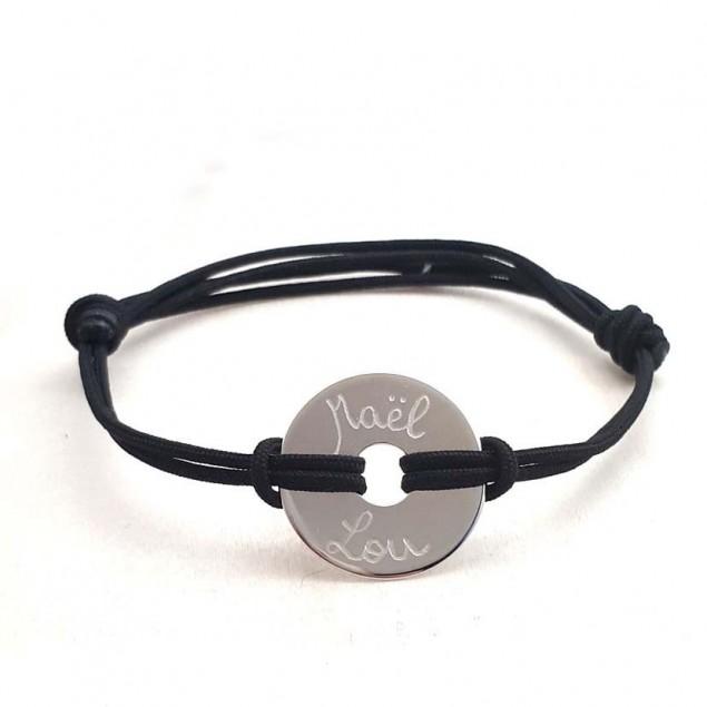 Bracelet cordon personnalisé homme - Cible 20mm en argent