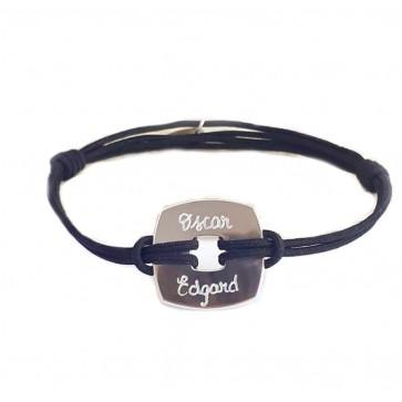 Bracelet cordon personnalisé homme - Cible carré en argent
