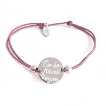 Bracelet cordon personnalisé mini jeton gravé  & perles  Argent