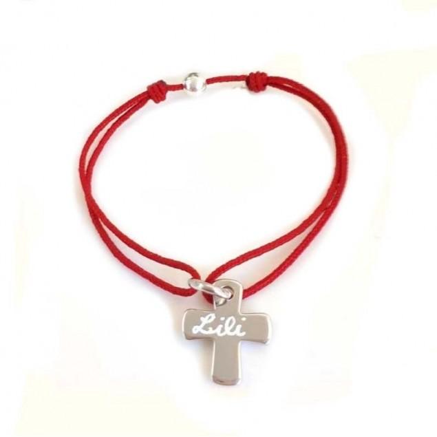 Bracelet cordon personnalisé croix gravée - Argent