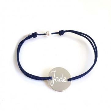 Bracelet cordon personnalisé mini jeton gravé - Argent