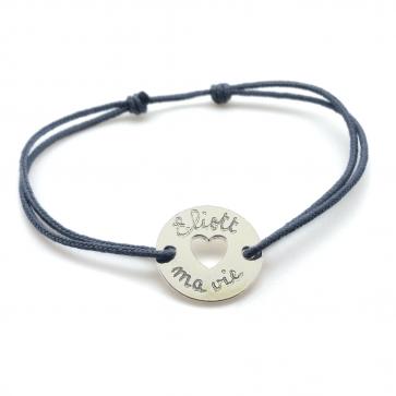 Bracelet cordon personnalisé jeton coeur - Argent
