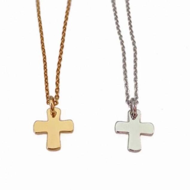 Collier personnalisé pendentif croix plaqué or ou argent gravable
