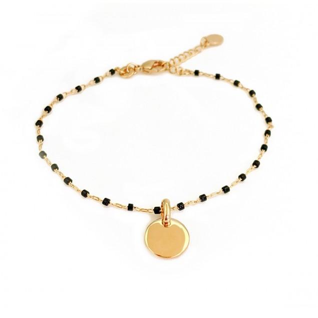Bracelet initiale personnalisé plaqué or & perles Miyuki noires