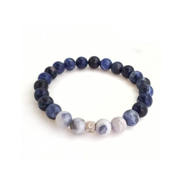 Bracelet perles nuance de bleus pour homme - 1 cube à personnaliser